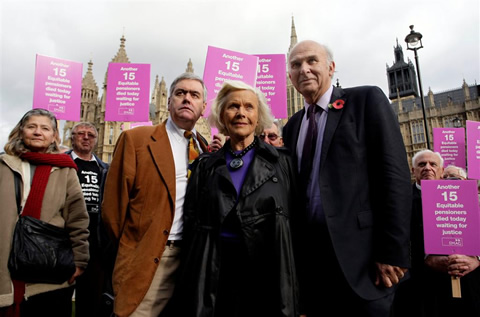 Honor Blackman joins Equitable Life victims  for pensions demo